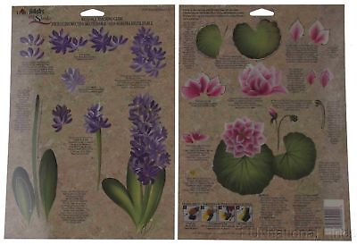 FolkArt One Stroke Reusable Paint Teaching Guide Lot 36 Hyacinth Water Lily 1024