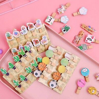 10Pcs Wooden Clips With Rope DIY Photo Paper Pegs Wall Hanging Decoration Clips