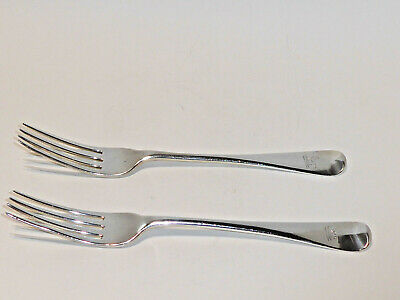 1825 Antique pair Old English Solid Sterling silver Georgian table dinner forks