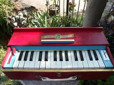 Vintage Lovely Toy Organ Red Child Made in Japan Portable Wood Case