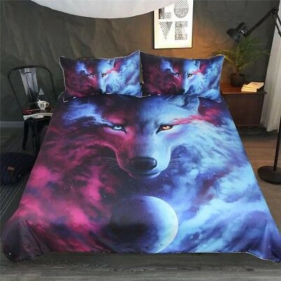 Wolf Galaxy Bedding Set Animal Universe Duvet Cover Pillow Cases All Sizes HD