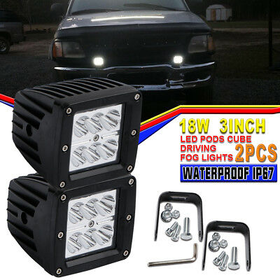 2Pc 18W Led Work Lights Pods Spot Offroad Lamp For Jeep Dodge Ram Ford GMC Chevy