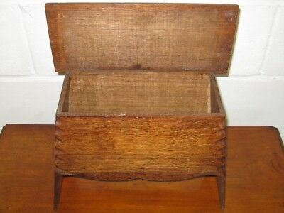Victorian antique Arts Crafts solid carved oak miniature jewellery chest coffer
