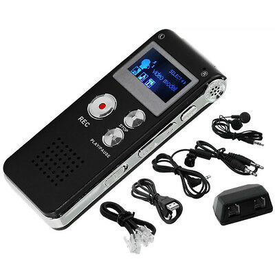 US Voice Recorder MP3 Player Rechargeable 8GB Digital Audio Telephone Dictaphone