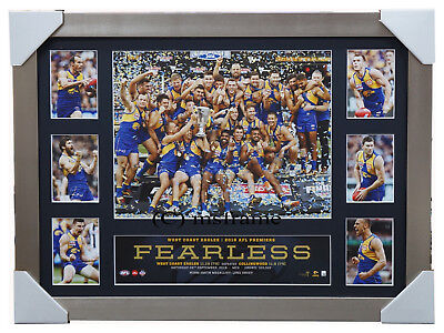 West Coast Eagles 2018 Premiers Deluxe Tribute AFL Official Print Silver Frame