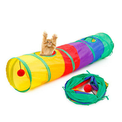 1x Pet Cat Kitten Tunnel Activity Toy Rabbit Play Funny Collapsible Tube Game AU