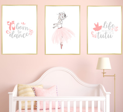Ballerina Nursery Wall Art Print Set Kids Baby Girl Room Decor Poster Pictures