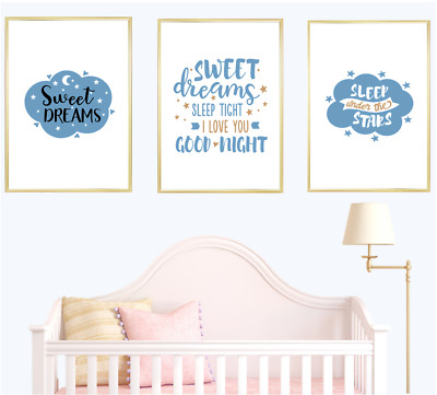 Nursery Quotes Print Wall Art Prints Set Baby Boy Blue Room Home Decor Poster