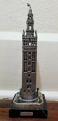 """Sterling Silver 9.5"""" tall Statue of The Giralda in Sevilla, Spain by Leofer"""