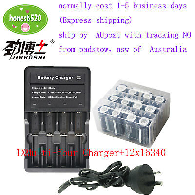 Multi four-Charger +12x Rechargeable Battery 3.7v 650mAh CR123a RCR123a 16340