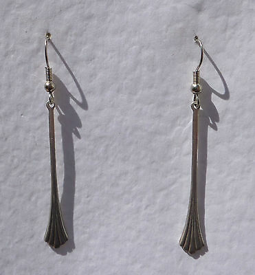 Slender Deco Style Splay Drop Earrings Dark Silver Plated Fan. Hook Earwires