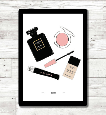 Chanel Glam Watercolour Wall Art Print Poster Beauty Fashion Perfume Home Decor