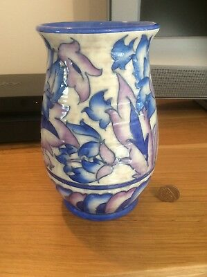 "Charlotte Rhead for Crown Ducal ""Peony"" pattern vase."