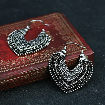 Pair of antique silver colour fancy Boho gypsy style creole dangle earrings