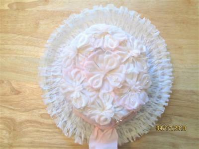 Vintage Child's Girl Flower Hat With Ruffles And Bow