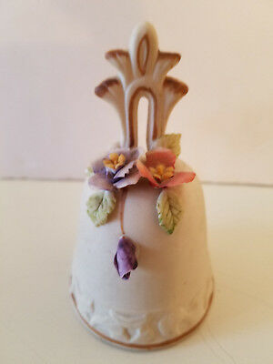 "Vintage Ceramic / Porcelain Bell with Raised Flowers - 4 1/2"" Tall"