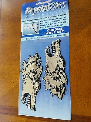 Crystal Trim Medallion Chrome Wolf Set 3-D Cars,Boats,Trucks Motorcycles,etc.