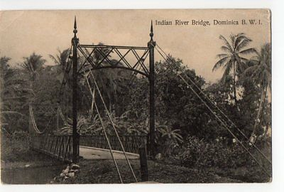 Dominica  early postcard of Indian River Bridge