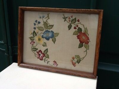 Antique Wooden Handmade Taperstry/Embroidery Glass Top Serving Tray