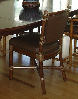 Six Vintage McGuire Noe Style Dining Chairs (1970's)