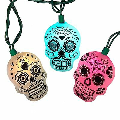 Halloween Sugar Skull Day Of The Dead Light Strand NEW UL Color Changing
