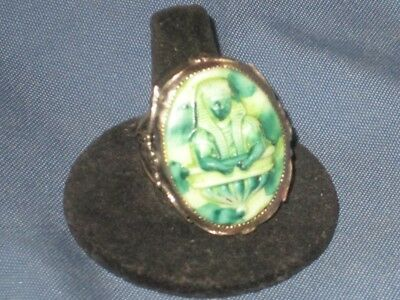 Vintage Sterling Silver & Glass Egyptian Revival Pharaoh Cameo Ring Size 12