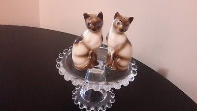 Vintage Siamese Cat Salt & Pepper Shakers Blue Rhinestone Eyes- Japan