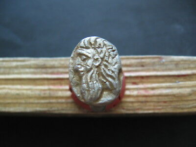 ZEUS JUPITER HEAD ANCIENT ROMAN SILVERED BRONZE RING 1-2 ct. AD 27 mm