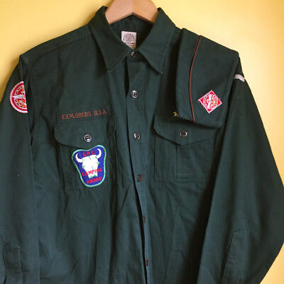 Vintage Boy Scouts Explorers Uniform Sanforized Shirt and Lrg Hat Size 15 Reg