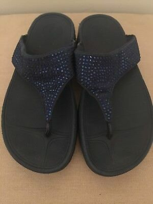 594a05759793a6 Fitflop Womans Navy Blue Sequin Walking Toning Thong Sandals Flip Flop-Size  7