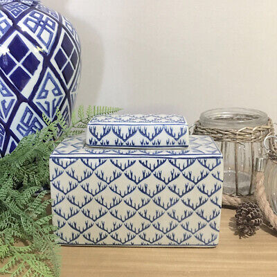 Blue Patterned Temple Jar/Rectangular Canister/Ginger Jar/Hampton's/Chinoiserie