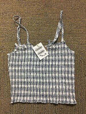 7ef5891636 Brandy Melville white blue plaid checkers crop smocked izzy tank top NWT XS  S