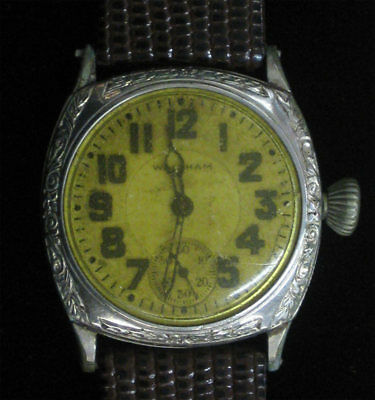 Vintage Waltham Etched Art Deco Estate Watch SS Leather Band Manual Stunning!