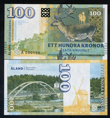 Aland Islands, 100 Kronor, 2018, Private Issue, Specimen, Essay UNC