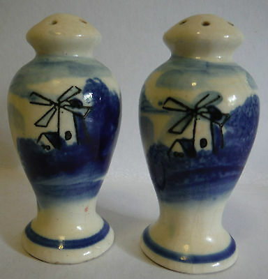 Old blue white windmill salt pepper shakers made in japan