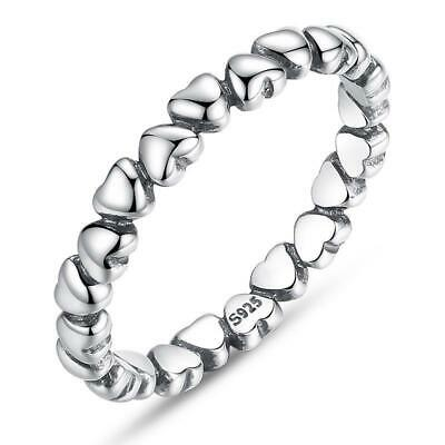 100% Solid 925 Sterling Silver Forever Love Heart Finger Ring B01