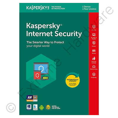 Kaspersky Internet Security 2018 Multi Device 1 User/PC 1 Year Activation Key