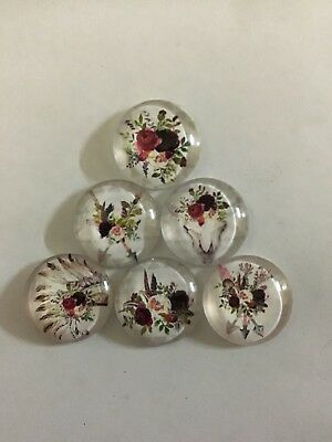 Set Of 6 X 25mm Glass Dome Cabochons -  Assorted Dreamcatcher Cow Skull Flowers