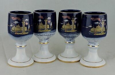 Greek Pottery Set 4 Goblets/cups Cobalt Blue 24K Gold Hand Made Rhodes Castle