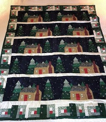 Quilted Christmas Log Cabin + Trees Wall Hanging Quilt 50x60, Patchwork