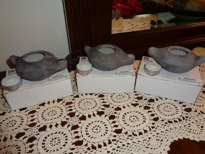 Lot Of 3 1st Century Clay Repro. Oil Lamp Candle Holder Holy Land Adventure 2006