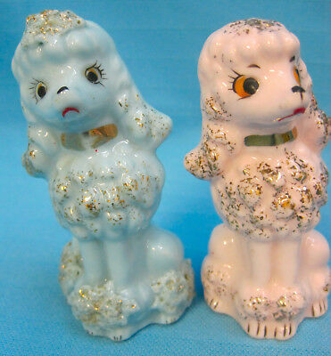 """Poodle Dogs 2 Figurines 3"""" Tall Blue Pink Gold Porcelain Gifts"""