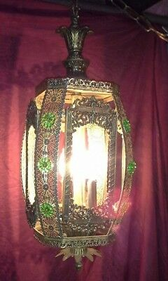 Vintage Hanging Swag Light Lamp Fixture Brass Tin Jeweled Working