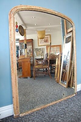 C.1900 Extra Large Dome Arch Top Victorian Over Mantle Gilt Mirror - 4 ft x 4 ft