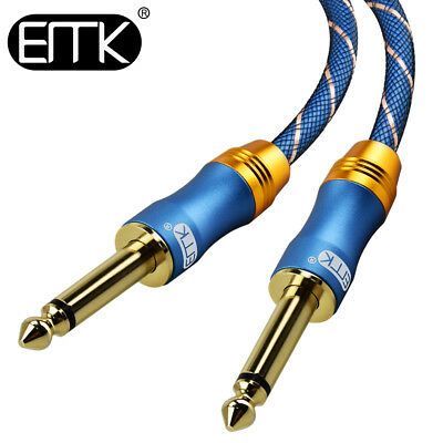 EMK Mono Guitar 6.35mm1/4'' AUX Stereo Audio Cable Male to Male Bass Cord 3-50ft