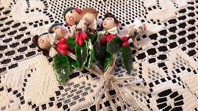 Lot of 6 Vintage Christmas Chenille Pipe Cleaner Figures/Picks