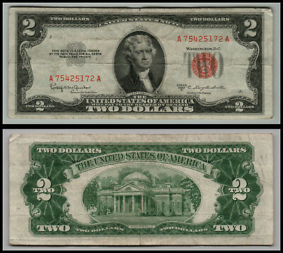1953C $2 Dollar Bill Old Us Note Legal Tender Paper Money  Red Seal  Lot 0683
