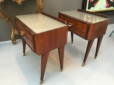 Very rare 'Dassi' 1950's Italian Walnut & Satinwood Bedside Cabinets/Side Tables