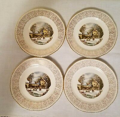 """Four (4) Homer Laughlin Currier & Ives The Farmers Home Winter 6 1/4"""" Plate MINT"""