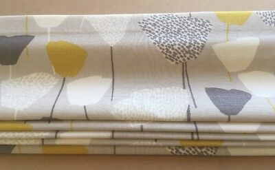 ROMAN BLIND, JOHN LEWIS ELIN CITRINE YELLOW / GREY Fabric MADE TO MEASURE